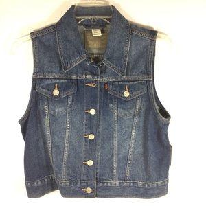 Levi's blue denim sleeveless jean jacket L